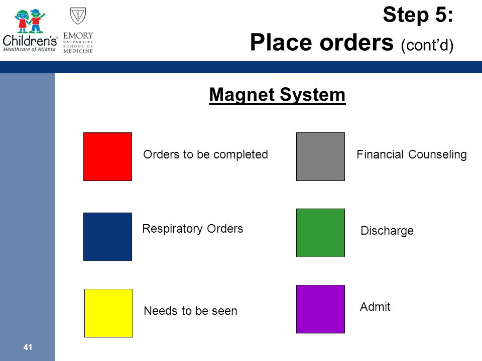 41 Step 5: Place orders (cont'd) Orders to be completed Respiratory Orders Needs to be seen Financial Counseling Discharge Admit Magnet System