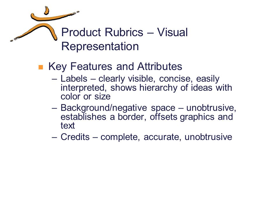Product Rubrics – Visual Representation Key Features and Attributes –Labels – clearly visible, concise, easily interpreted, shows hierarchy of ideas with color or size –Background/negative space – unobtrusive, establishes a border, offsets graphics and text –Credits – complete, accurate, unobtrusive