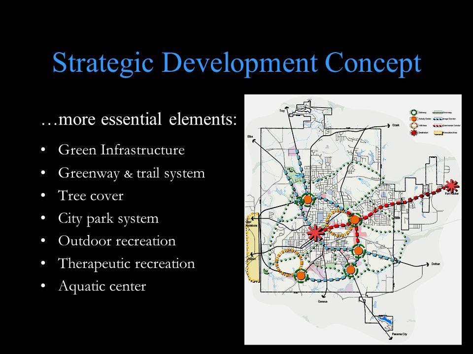Green Infrastructure Greenway & trail system Tree cover City park system Outdoor recreation Therapeutic recreation Aquatic center …more essential elements: Strategic Development Concept