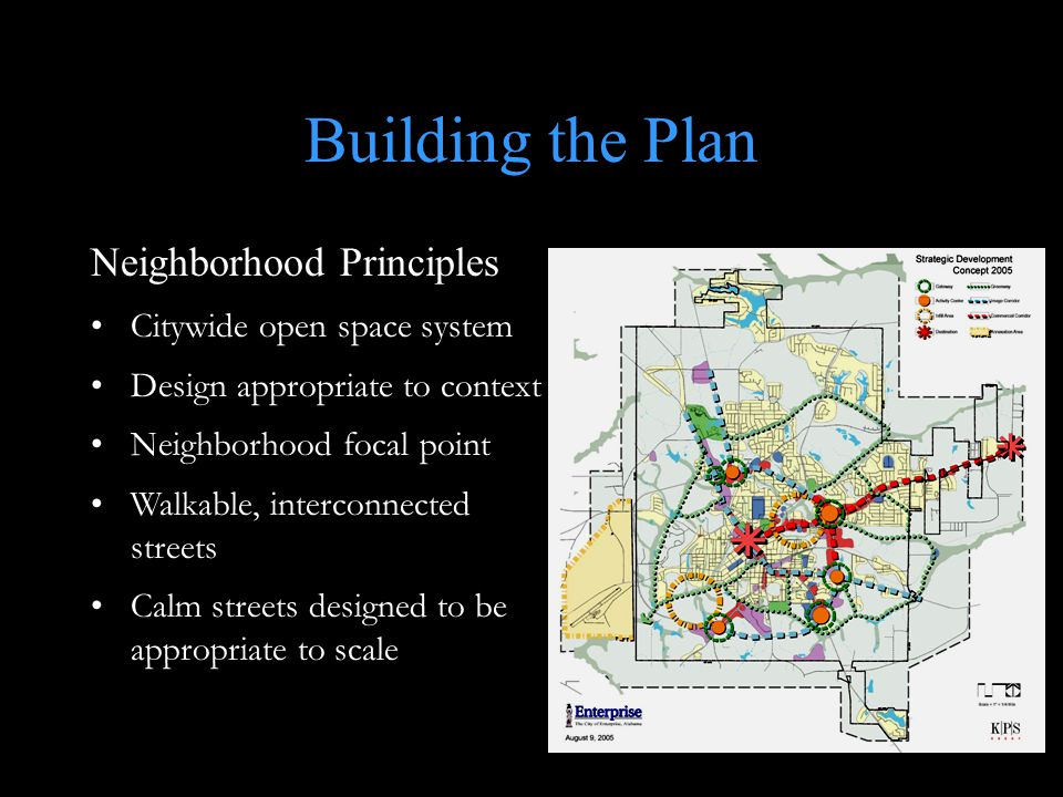 Building the Plan Neighborhood Principles Citywide open space system Design appropriate to context Neighborhood focal point Walkable, interconnected streets Calm streets designed to be appropriate to scale