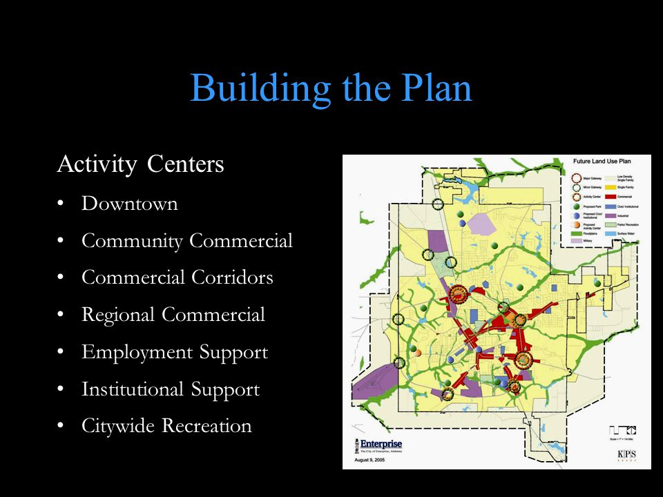 Building the Plan Activity Centers Downtown Community Commercial Commercial Corridors Regional Commercial Employment Support Institutional Support Citywide Recreation