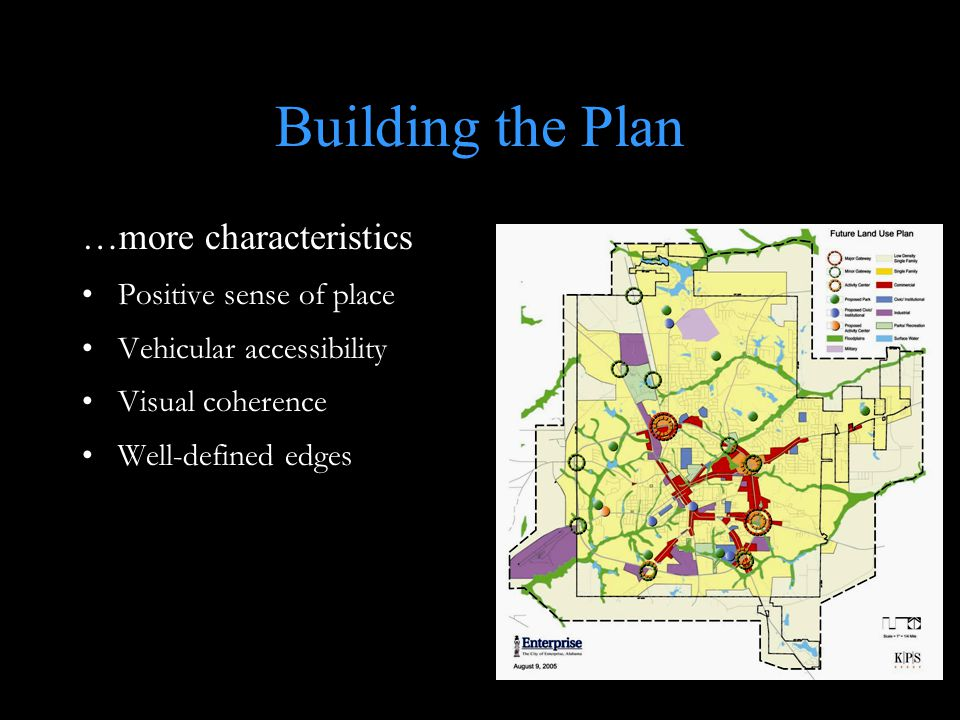 Building the Plan …more characteristics Positive sense of place Vehicular accessibility Visual coherence Well-defined edges
