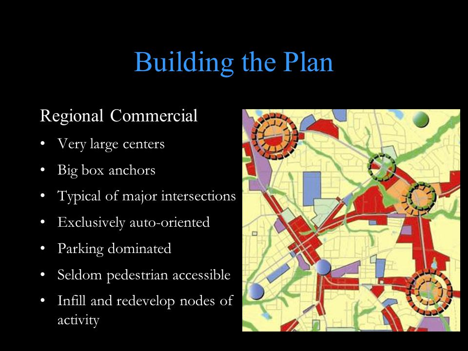 Building the Plan Regional Commercial Very large centers Big box anchors Typical of major intersections Exclusively auto-oriented Parking dominated Seldom pedestrian accessible Infill and redevelop nodes of activity