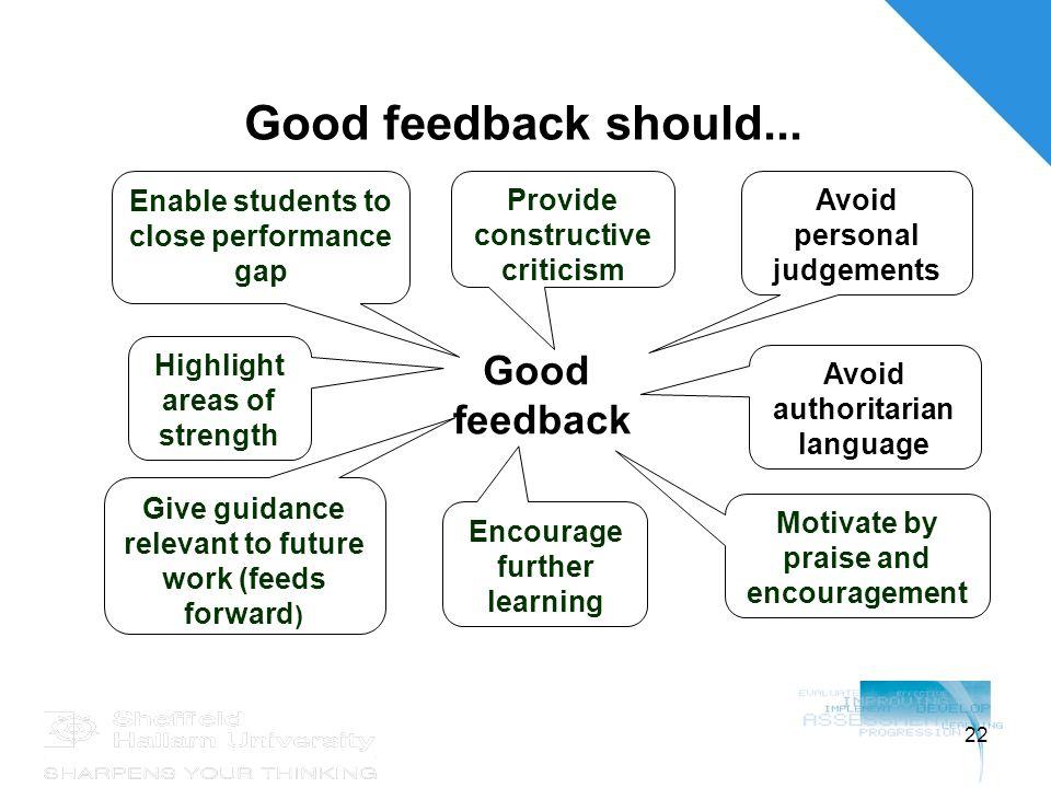 22 Good feedback should...