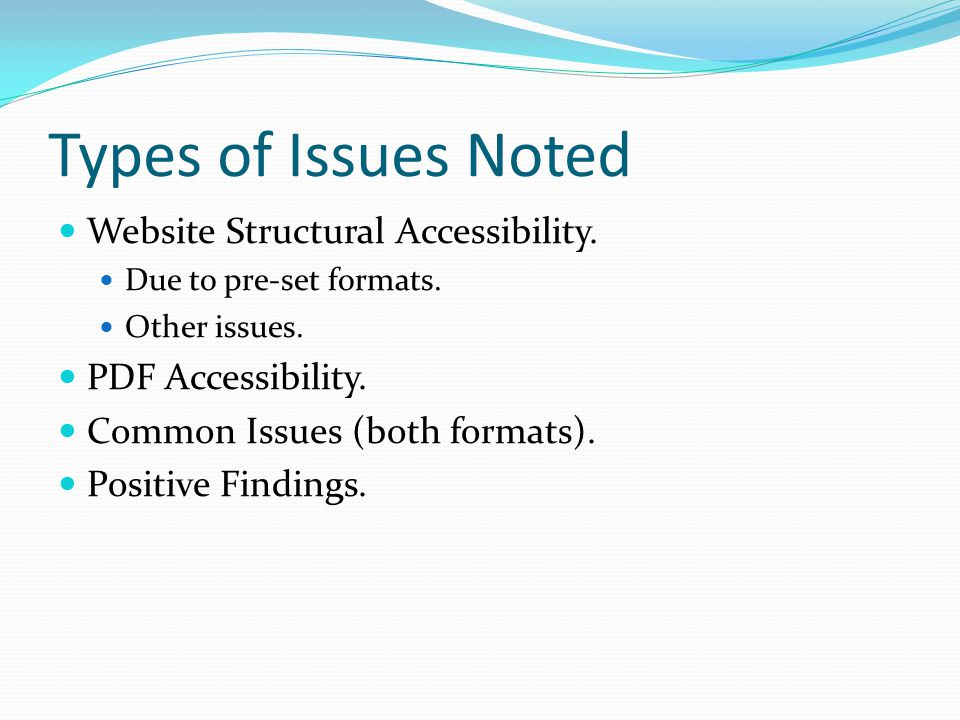 Issues of Website Structural Accessibility Pre-Set Formats (5 collection sites): Structural markup, e.g.