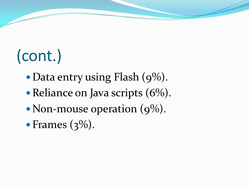 (cont.) Data entry using Flash (9%). Reliance on Java scripts (6%). Non-mouse operation (9%). Frames (3%).