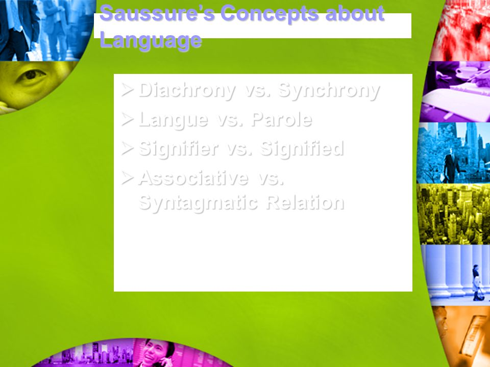 Saussure ' s Concepts about Language  Diachrony vs. Synchrony  Langue vs. Parole  Signifier vs. Signified  Associative vs. Syntagmatic Relation