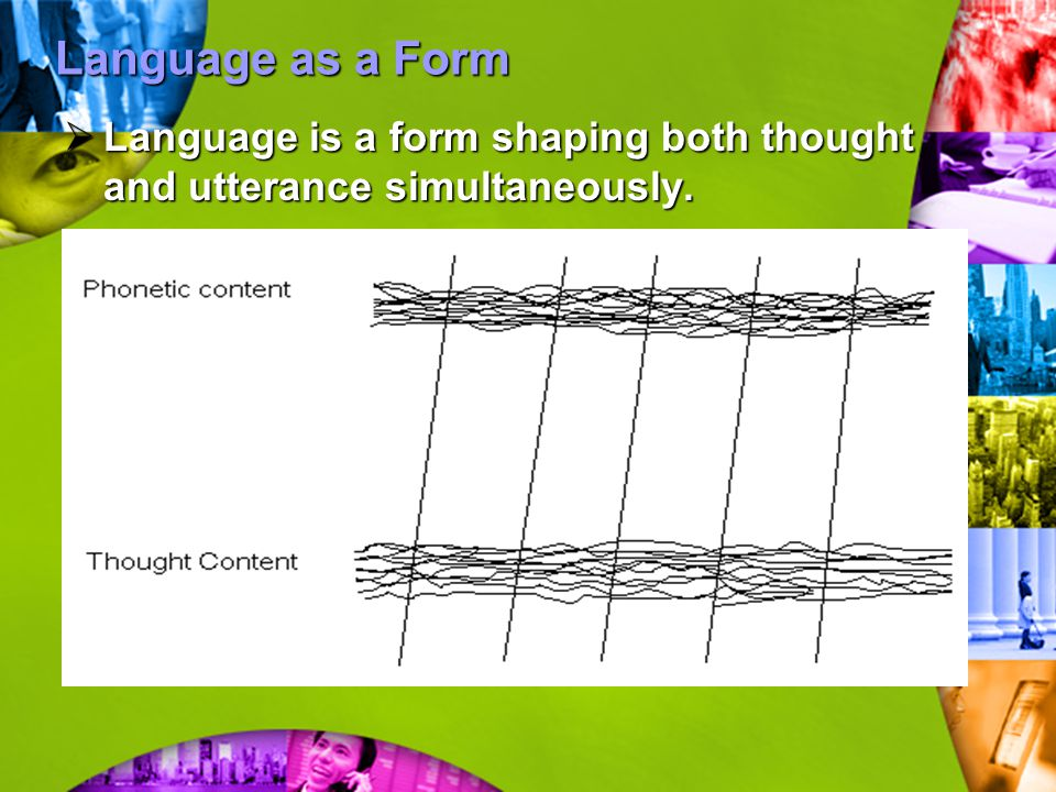 Language as a Form  Language is a form shaping both thought and utterance simultaneously.