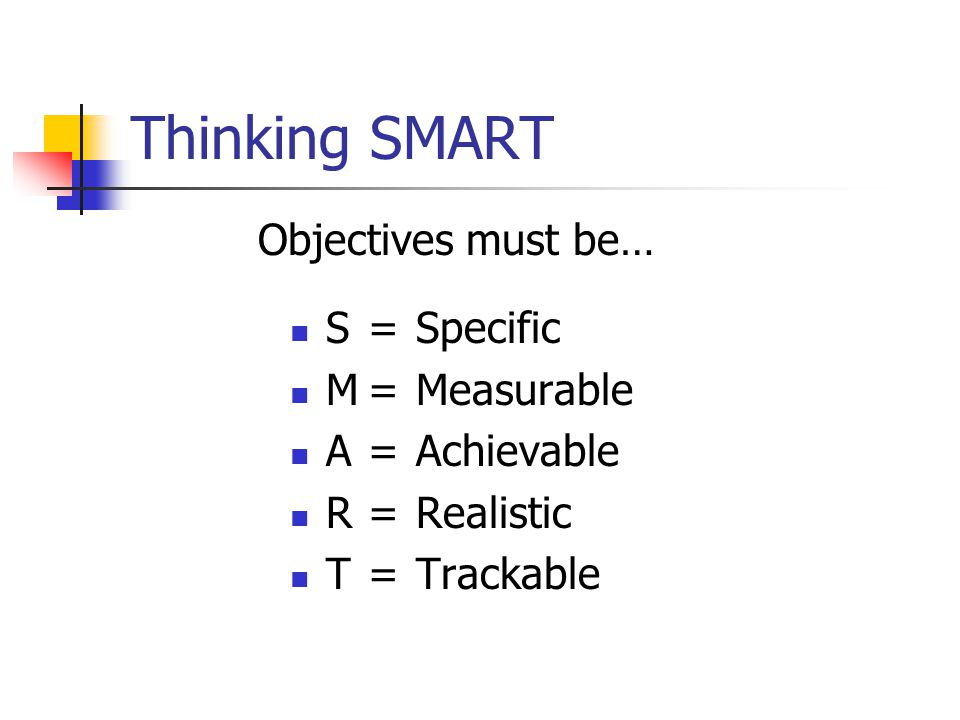Thinking SMART S=Specific M=Measurable A=Achievable R=Realistic T=Trackable Objectives must be…