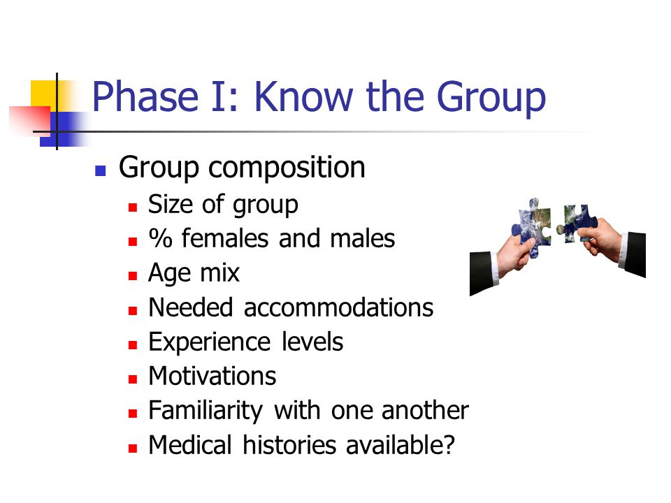 Phase I: Know the Group Group composition Size of group % females and males Age mix Needed accommodations Experience levels Motivations Familiarity with one another Medical histories available