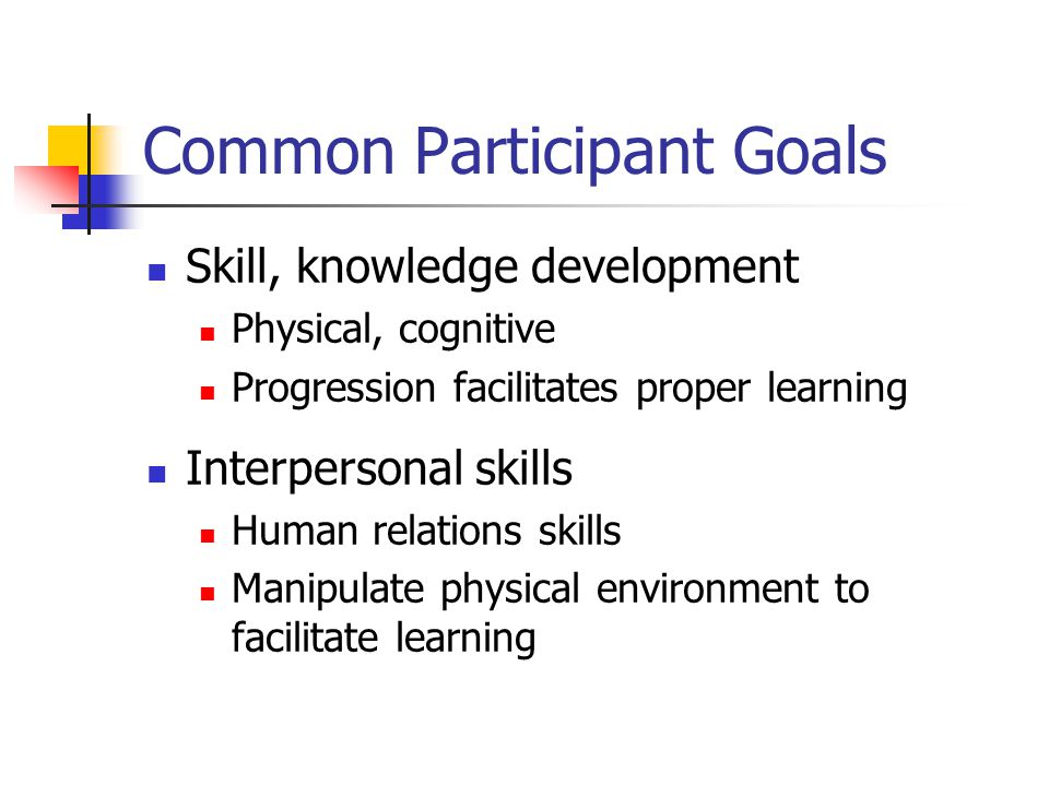 Common Participant Goals Skill, knowledge development Physical, cognitive Progression facilitates proper learning Interpersonal skills Human relations skills Manipulate physical environment to facilitate learning