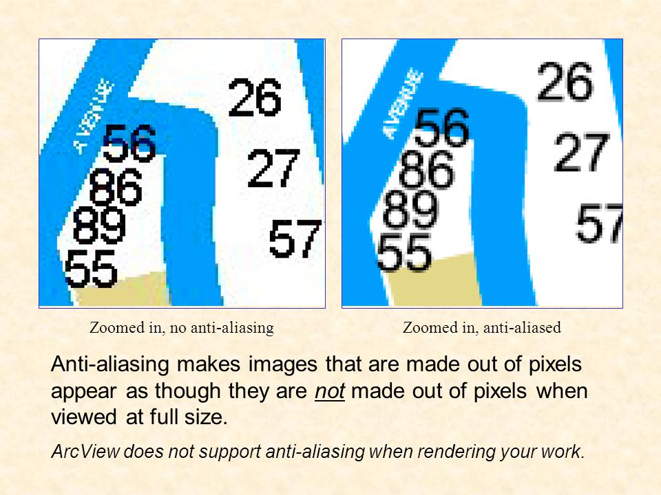 Anti-aliasing makes images that are made out of pixels appear as though they are not made out of pixels when viewed at full size.