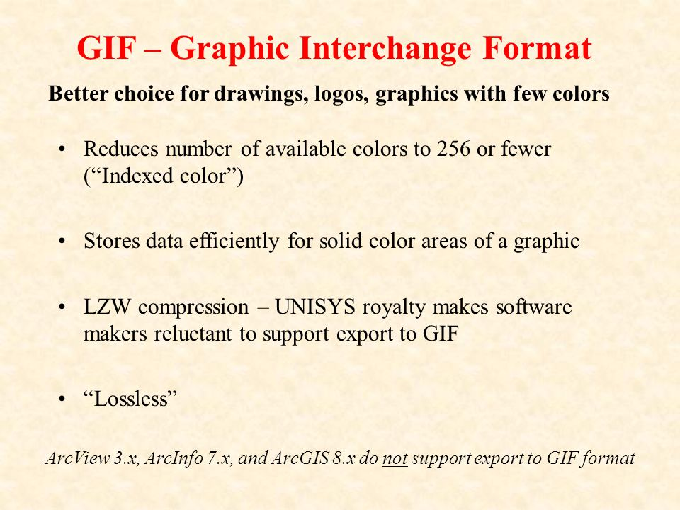 GIF – Graphic Interchange Format Reduces number of available colors to 256 or fewer ( Indexed color ) Stores data efficiently for solid color areas of a graphic LZW compression – UNISYS royalty makes software makers reluctant to support export to GIF Lossless ArcView 3.x, ArcInfo 7.x, and ArcGIS 8.x do not support export to GIF format Better choice for drawings, logos, graphics with few colors