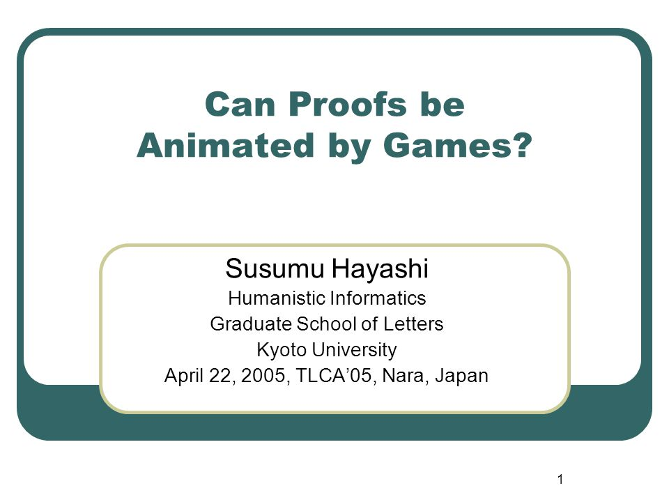 1 Can Proofs be Animated by Games.