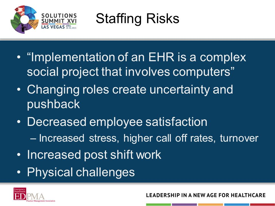 Staffing Risks Implementation of an EHR is a complex social project that involves computers Changing roles create uncertainty and pushback Decreased employee satisfaction –Increased stress, higher call off rates, turnover Increased post shift work Physical challenges