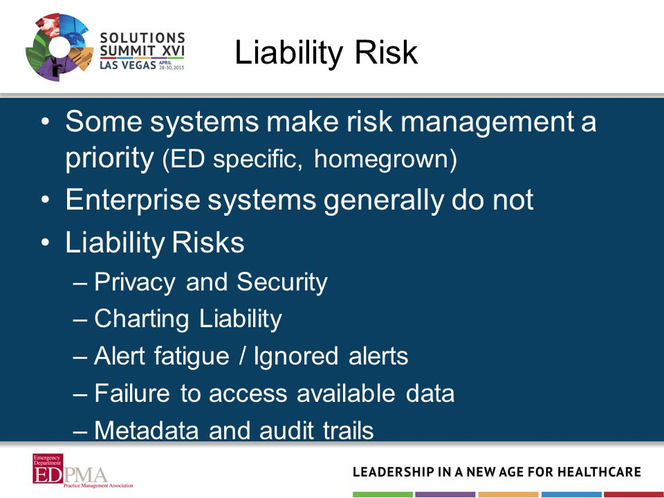 Liability Risk Some systems make risk management a priority (ED specific, homegrown) Enterprise systems generally do not Liability Risks –Privacy and Security –Charting Liability –Alert fatigue / Ignored alerts –Failure to access available data –Metadata and audit trails