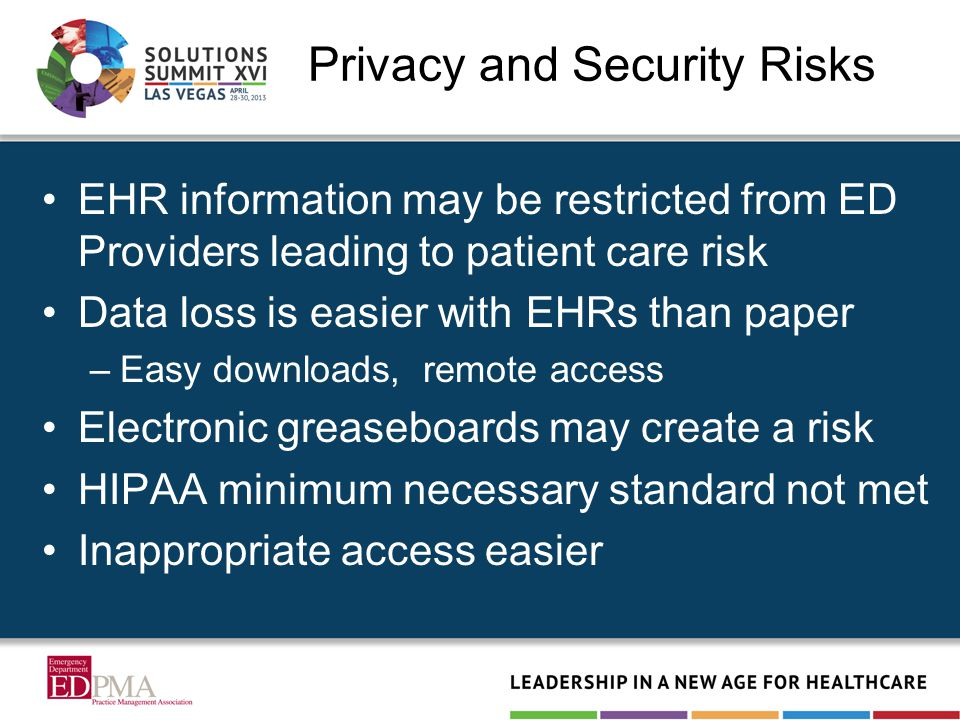Privacy and Security Risks EHR information may be restricted from ED Providers leading to patient care risk Data loss is easier with EHRs than paper –Easy downloads, remote access Electronic greaseboards may create a risk HIPAA minimum necessary standard not met Inappropriate access easier