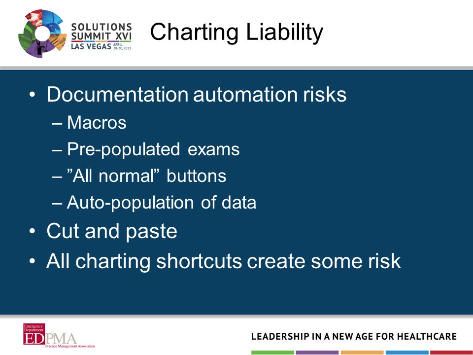 Charting Liability Documentation automation risks –Macros –Pre-populated exams – All normal buttons –Auto-population of data Cut and paste All charting shortcuts create some risk
