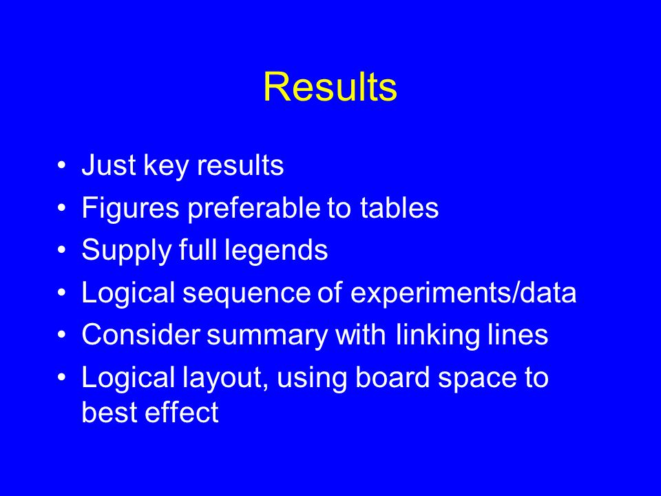 Results Just key results Figures preferable to tables Supply full legends Logical sequence of experiments/data Consider summary with linking lines Logical layout, using board space to best effect