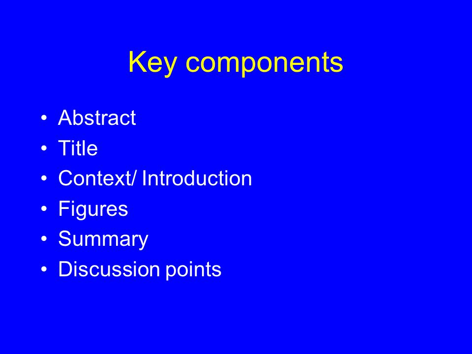 Key components Abstract Title Context/ Introduction Figures Summary Discussion points