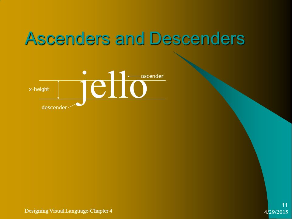4/29/2015 Designing Visual Language-Chapter 4 11 Ascenders and Descenders jello x-height descender ascender