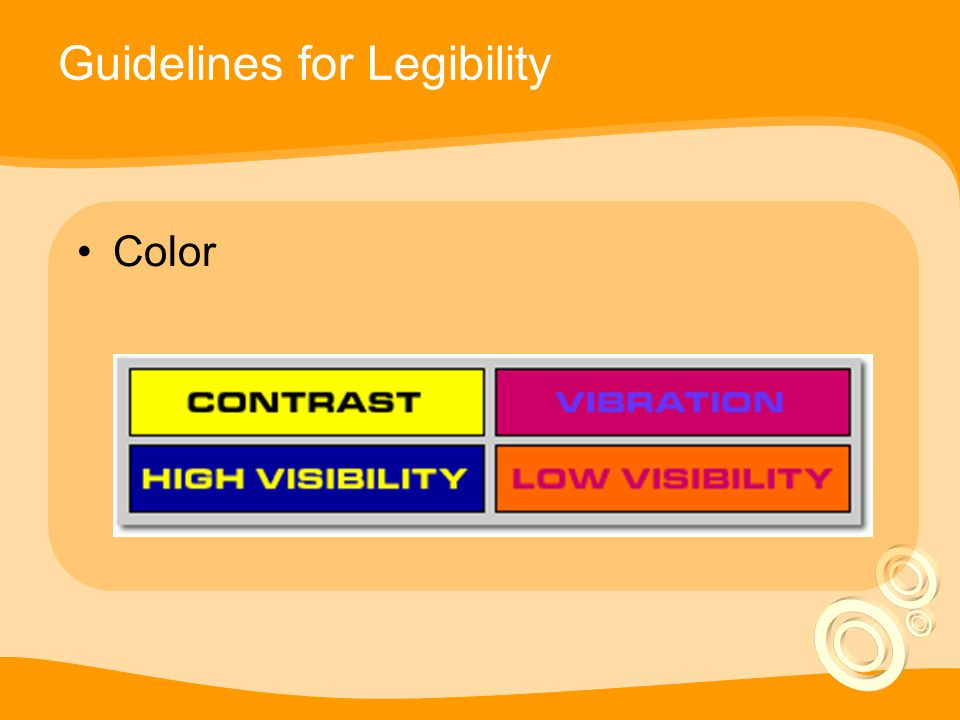 Guidelines for Legibility Color