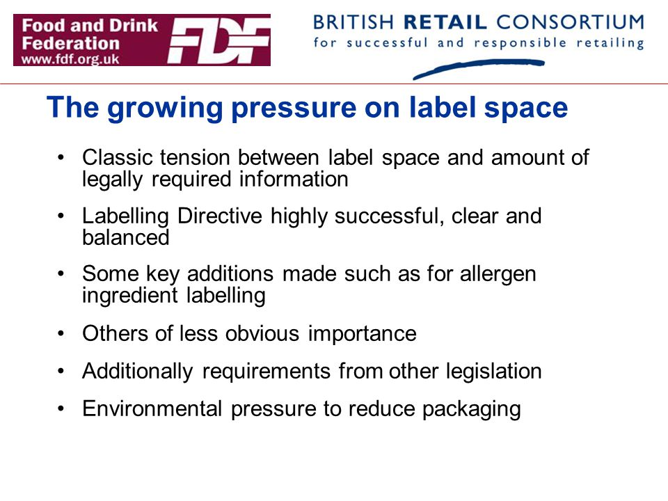 The growing pressure on label space Classic tension between label space and amount of legally required information Labelling Directive highly successf