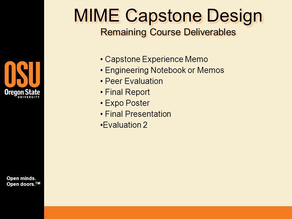 Open minds. Open doors. TM MIME Capstone Design MIME Capstone Design Remaining Course Deliverables Capstone Experience Memo Engineering Notebook or Me
