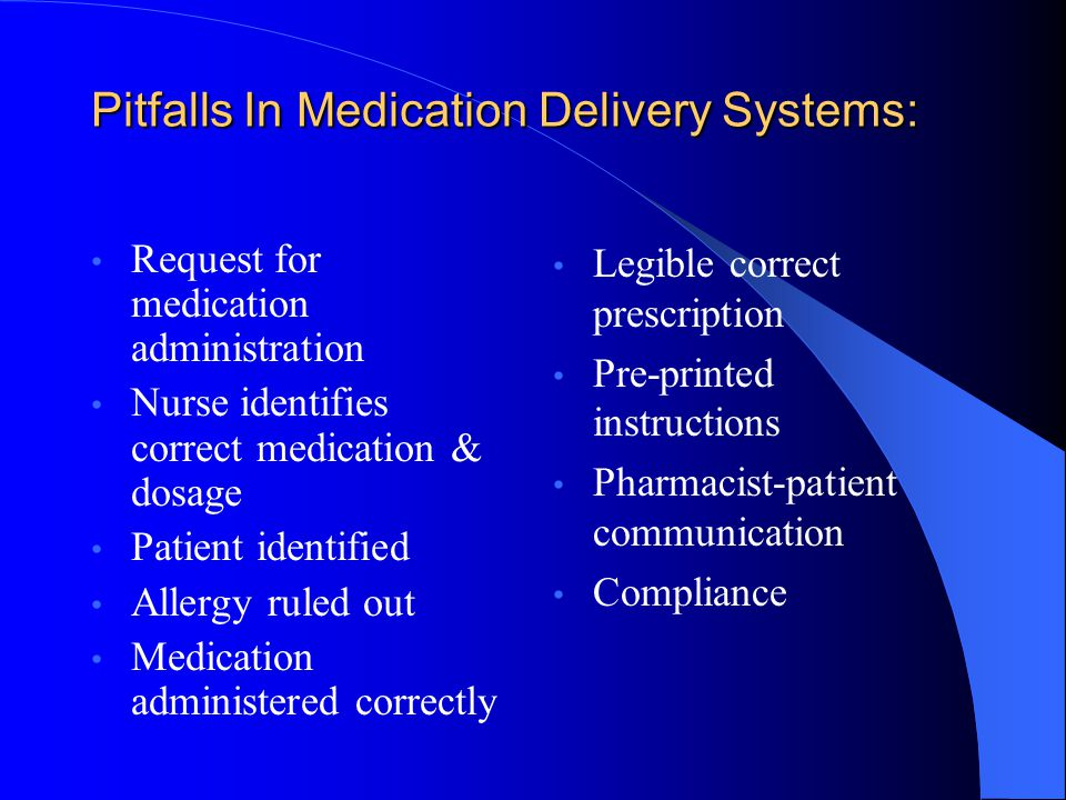 Pitfalls In Medication Delivery Systems: Request for medication administration Nurse identifies correct medication & dosage Patient identified Allergy