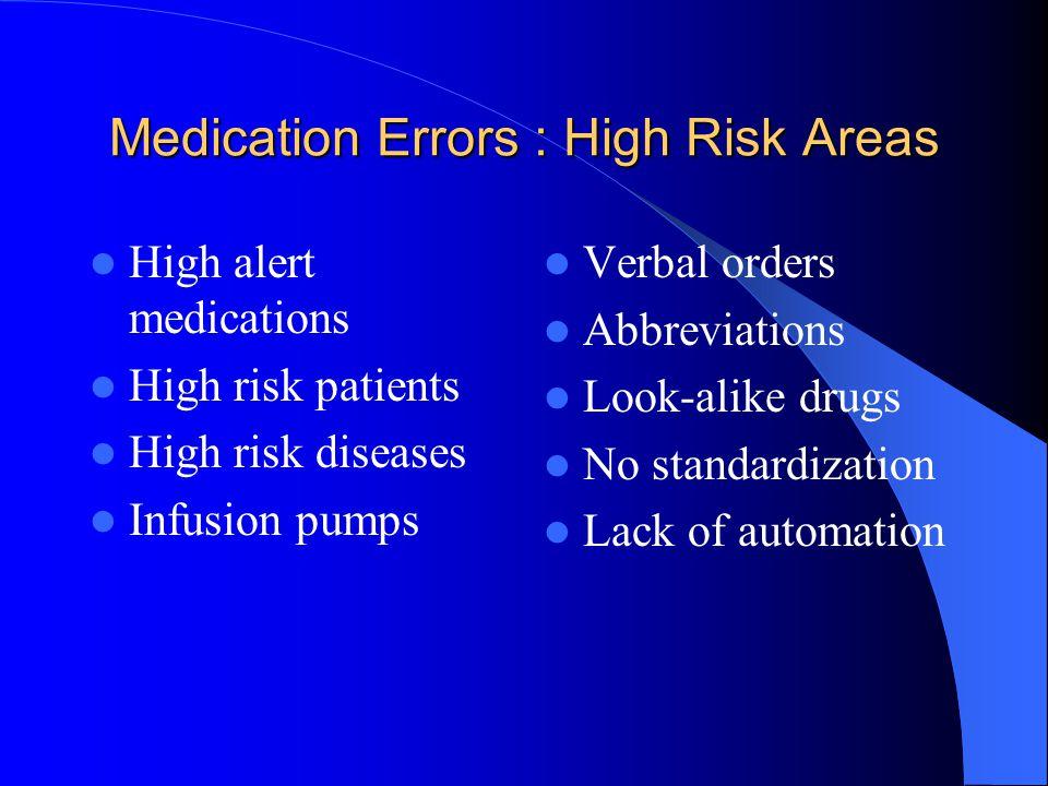 Medication Errors : High Risk Areas High alert medications High risk patients High risk diseases Infusion pumps Verbal orders Abbreviations Look-alike