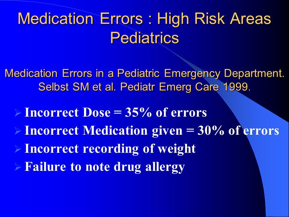Medication Errors : High Risk Areas Pediatrics Medication Errors in a Pediatric Emergency Department. Selbst SM et al. Pediatr Emerg Care 1999.  Inco