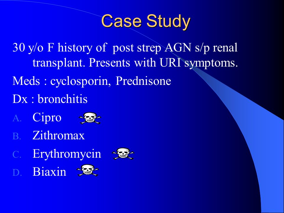 Case Study 30 y/o F history of post strep AGN s/p renal transplant. Presents with URI symptoms. Meds : cyclosporin, Prednisone Dx : bronchitis A. Cipr