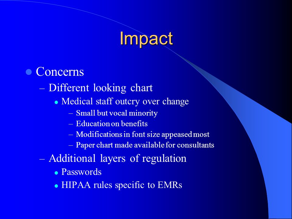 Impact Concerns – Different looking chart Medical staff outcry over change –Small but vocal minority –Education on benefits –Modifications in font siz