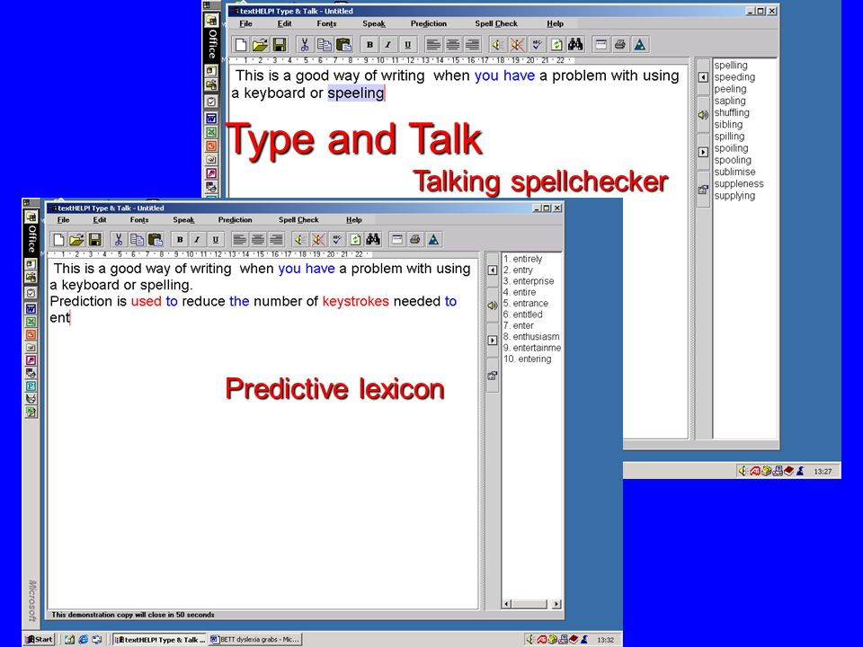 Support for writing personal writing aid talking wordprocessor talking picture / word banks predictive typing