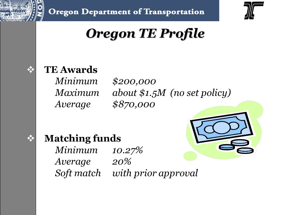 Oregon TE Profile  TE Awards Minimum$200,000 Maximumabout $1.5M (no set policy) Average$870,000  Matching funds Minimum10.27% Average20% Soft match with prior approval