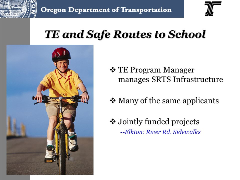 TE and Safe Routes to School  TE Program Manager manages SRTS Infrastructure  Many of the same applicants  Jointly funded projects --Elkton: River