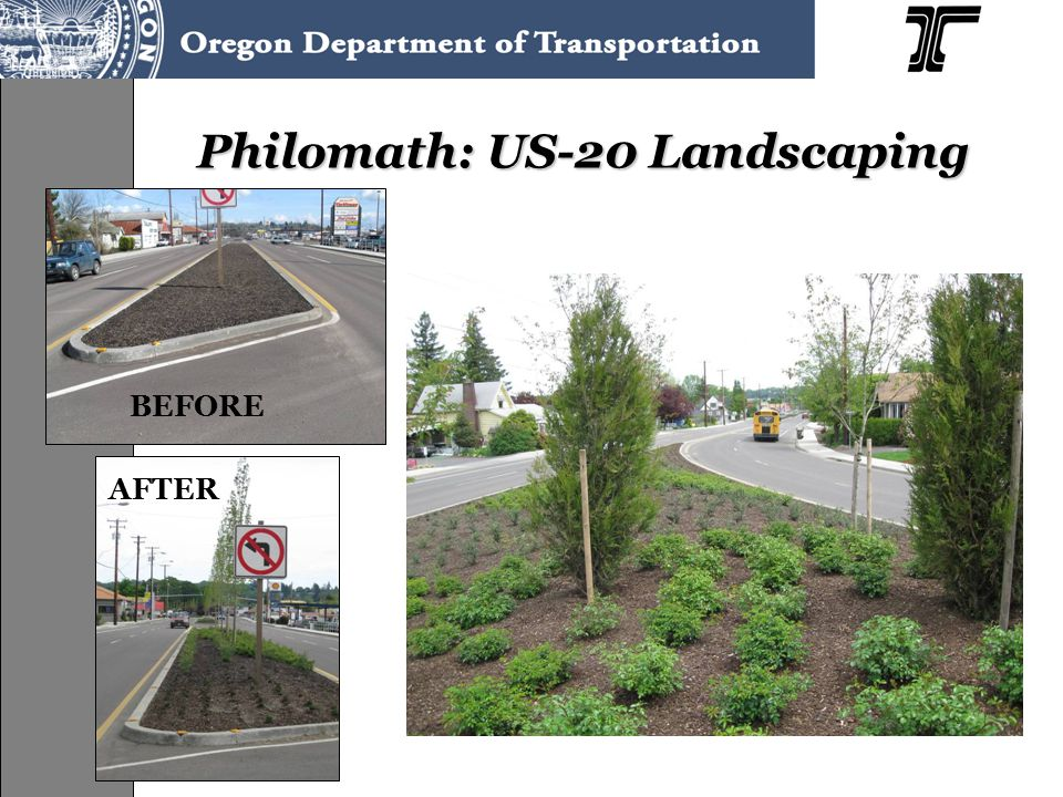Philomath: US-20 Landscaping BEFORE AFTER