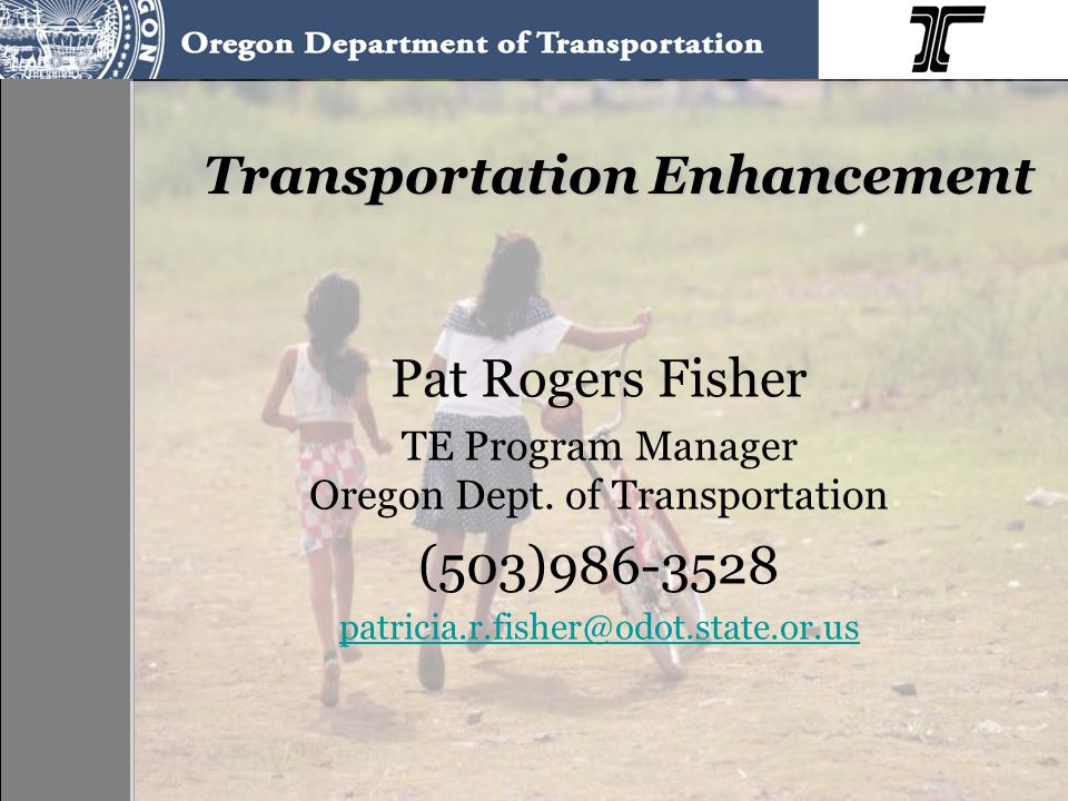 Pat Rogers Fisher TE Program Manager Oregon Dept. of Transportation (503)986-3528 patricia.r.fisher@odot.state.or.us Transportation Enhancement