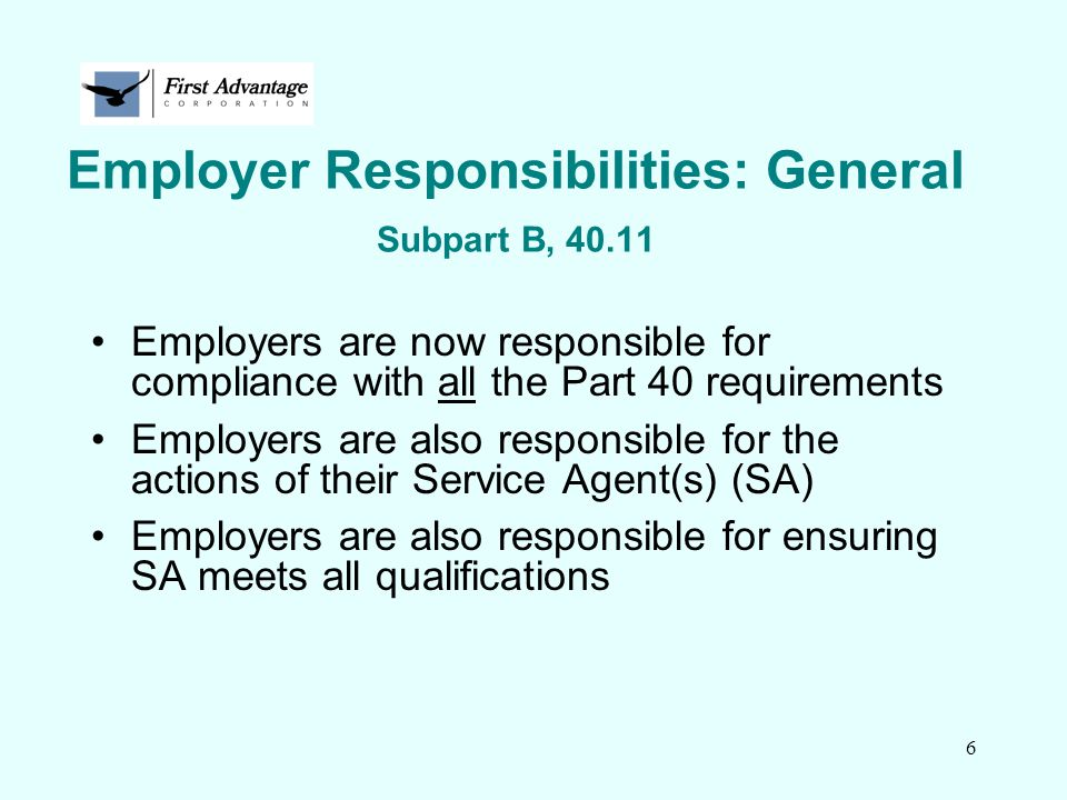 47 Return-to-duty (RTD) Process Subpart O Provide listing of SAPs at no charge to employee No employer requirement to provide SAP evaluation or treatment No safety-sensitive duties until employee completes SAP requirements RTD test only after SAP's follow-up report