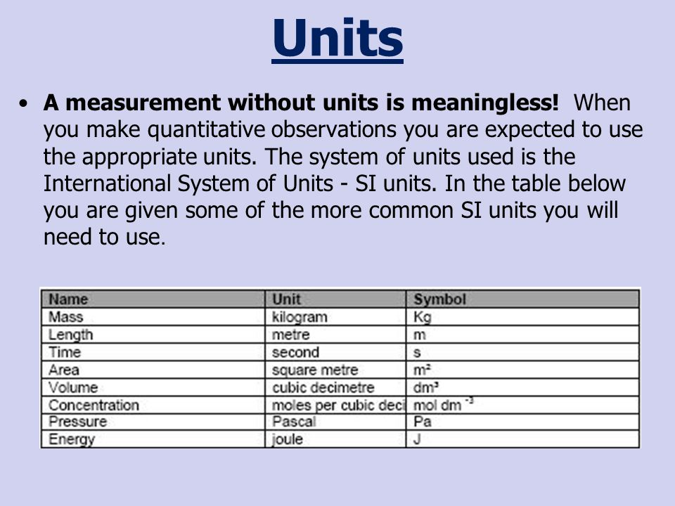 Units A measurement without units is meaningless.