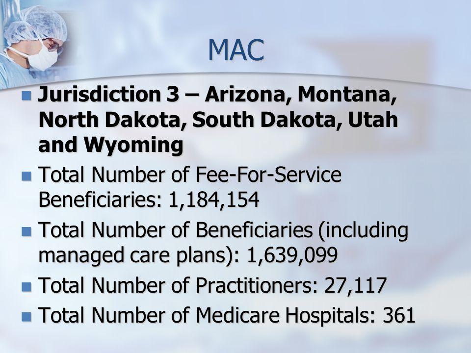 MAC Jurisdiction 3 – Arizona, Montana, North Dakota, South Dakota, Utah and Wyoming Jurisdiction 3 – Arizona, Montana, North Dakota, South Dakota, Utah and Wyoming Total Number of Fee-For-Service Beneficiaries: 1,184,154 Total Number of Fee-For-Service Beneficiaries: 1,184,154 Total Number of Beneficiaries (including managed care plans): 1,639,099 Total Number of Beneficiaries (including managed care plans): 1,639,099 Total Number of Practitioners: 27,117 Total Number of Practitioners: 27,117 Total Number of Medicare Hospitals: 361 Total Number of Medicare Hospitals: 361