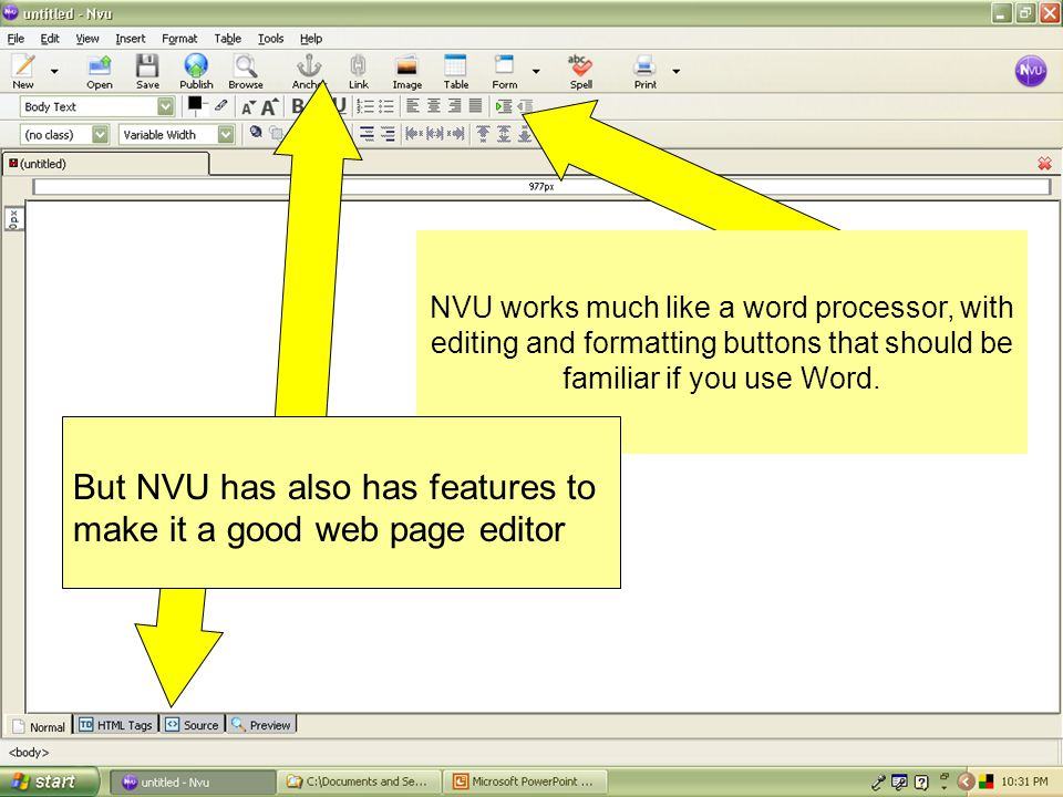 Let's return to NVU by clicking on its icon in the taskbar…