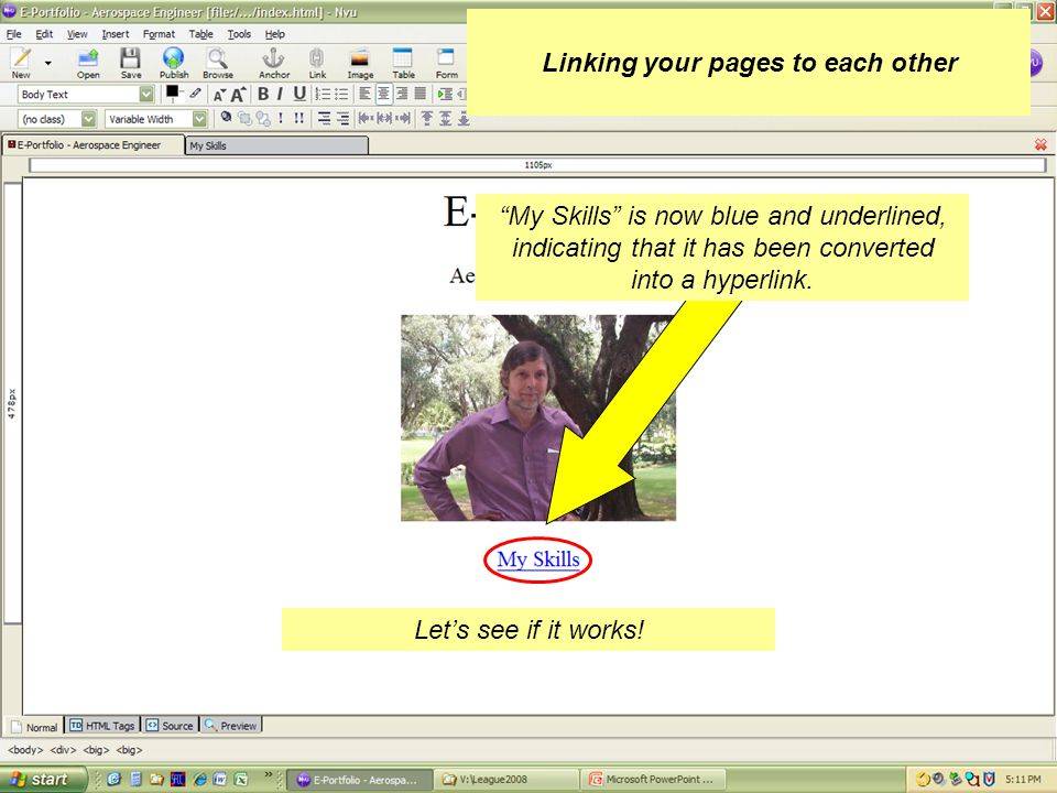 Linking your pages to each other Click: OK