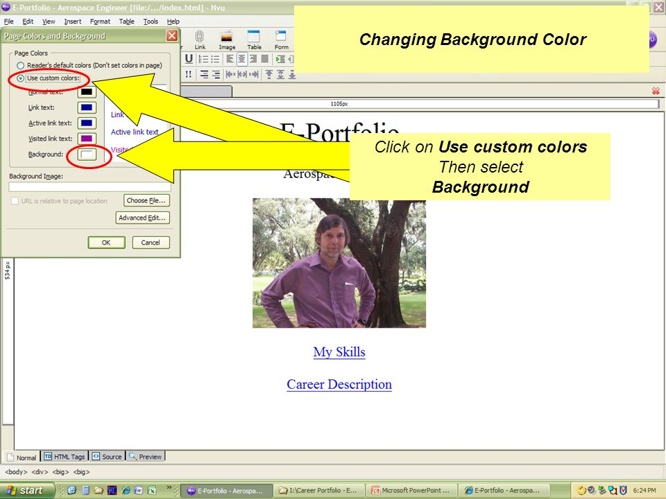 Click on Format, Then select Page Colors and Background Changing Background Color