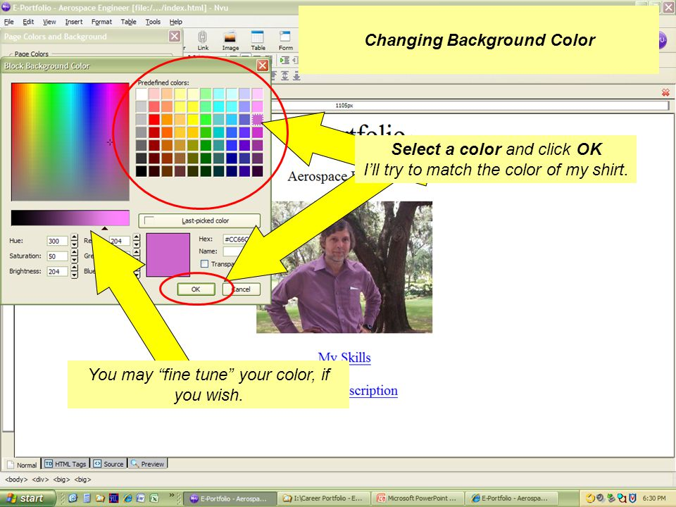 Click on Use custom colors Then select Background Changing Background Color