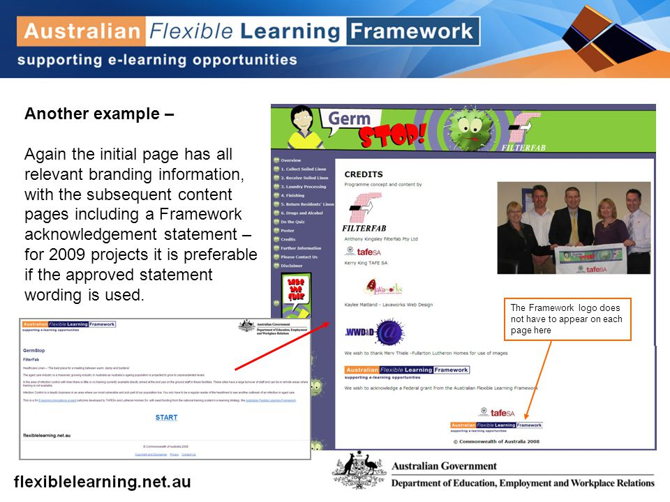 Another example – Again the initial page has all relevant branding information, with the subsequent content pages including a Framework acknowledgemen