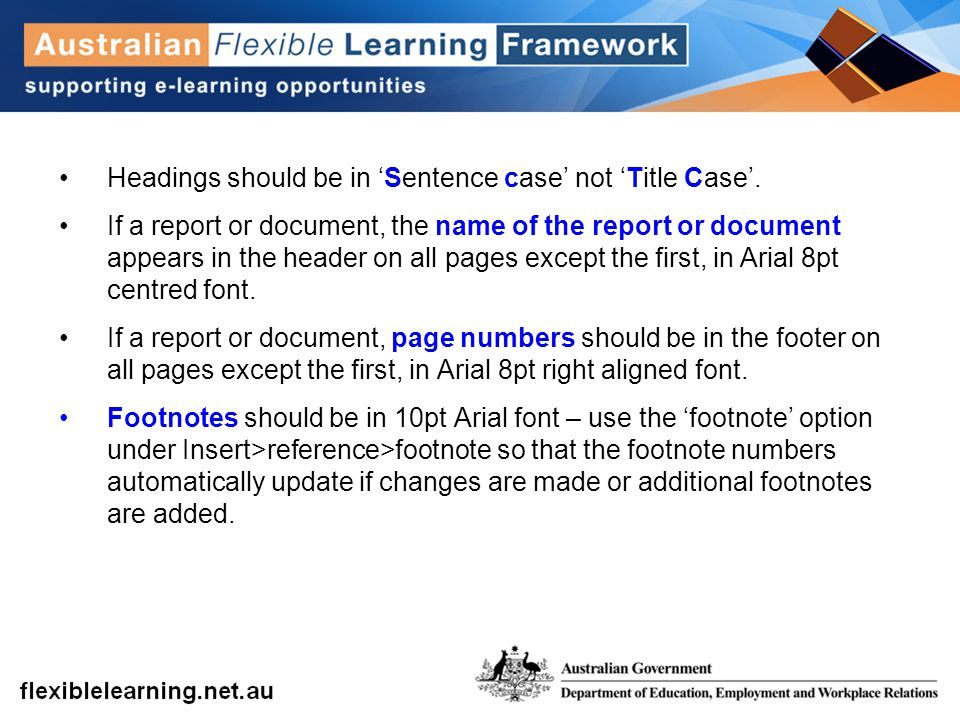 Headings should be in 'Sentence case' not 'Title Case'.