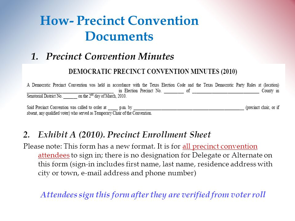 How- Precinct Convention Documents 1.Precinct Convention Minutes 2.Exhibit A (2010).