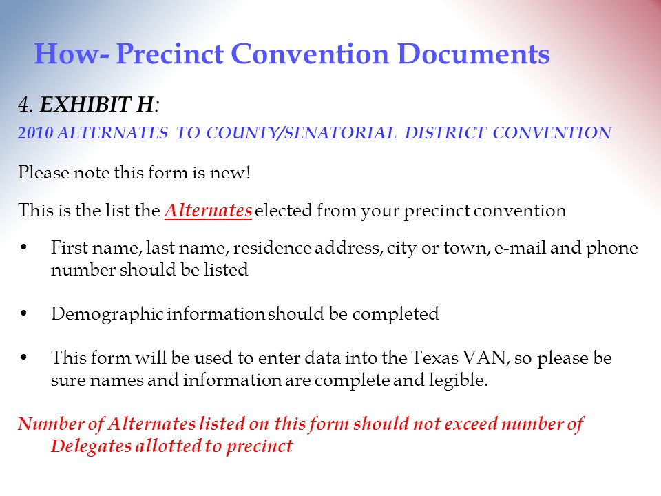 How- Precinct Convention Documents 4.