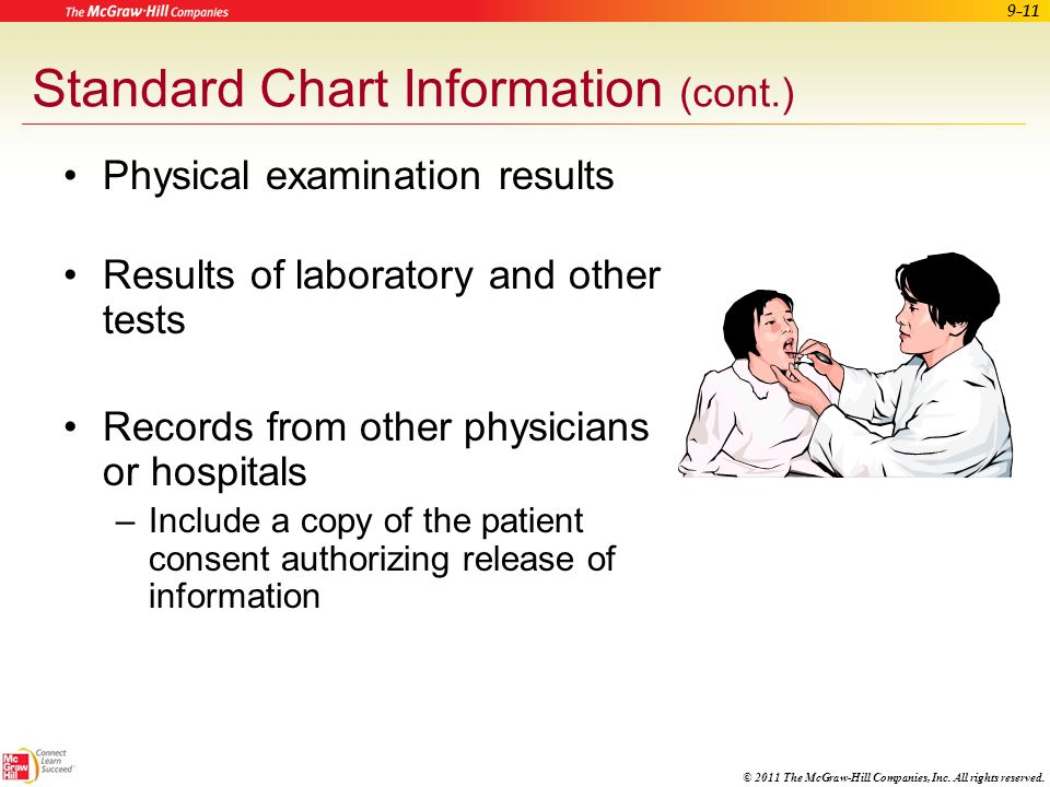 © 2011 The McGraw-Hill Companies, Inc. All rights reserved. 9-10 Standard Chart Information (cont.) Patient medical history –Illnesses, surgeries, all